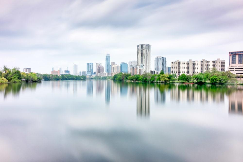 Austin Skyline Reflected Across Lady Bird Lake