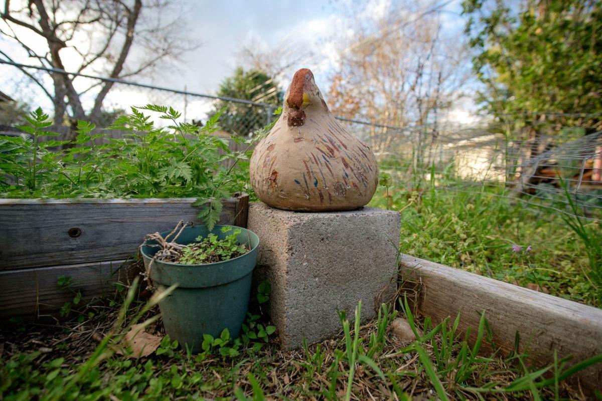 Ceramic chicken in the garden
