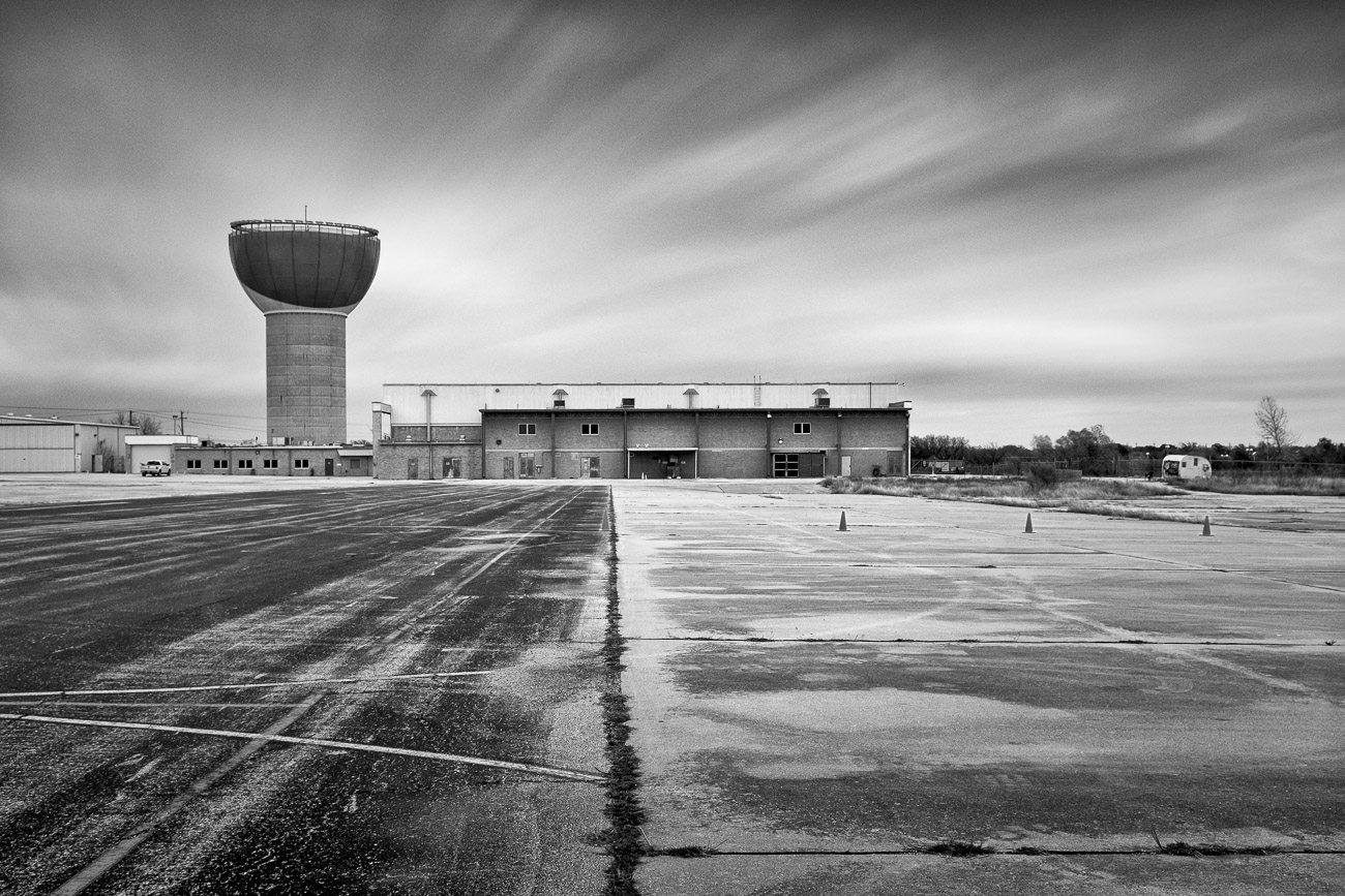 Mueller Water Tower Austin TX - Black and White Photograph