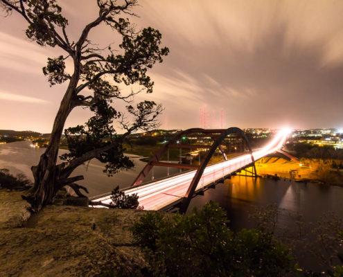 Photo of the Pennybacker Bridge at Night, Austin TX