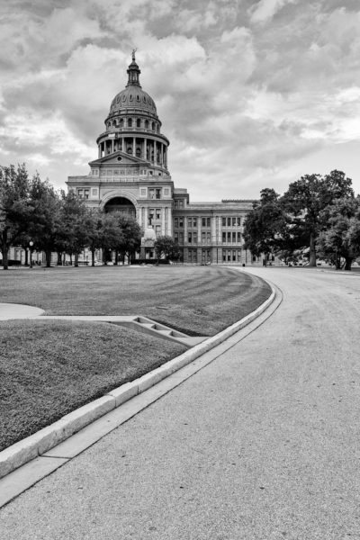 Texas State Capitol Building South - Black and White Photo