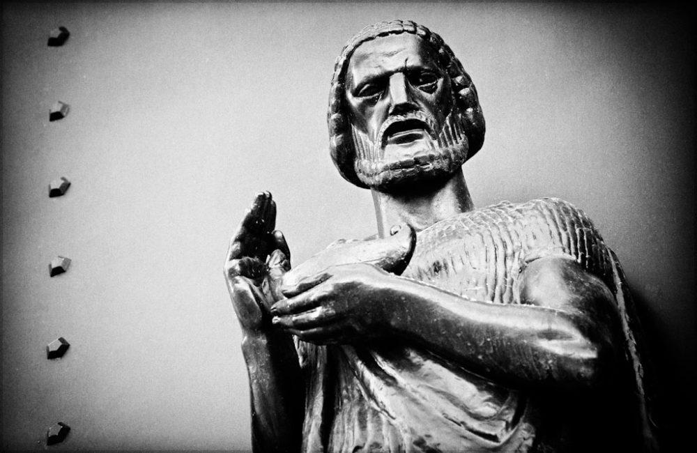 Wisdom - Black and White Photo of a Nashville City Hall Sculpture