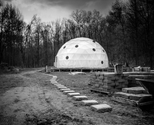 Wooten Woods Retreat Geodesic Dome - Black and White Photograph