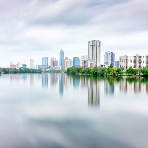 Austin Skyline Reflected Across Lady Bird Lake