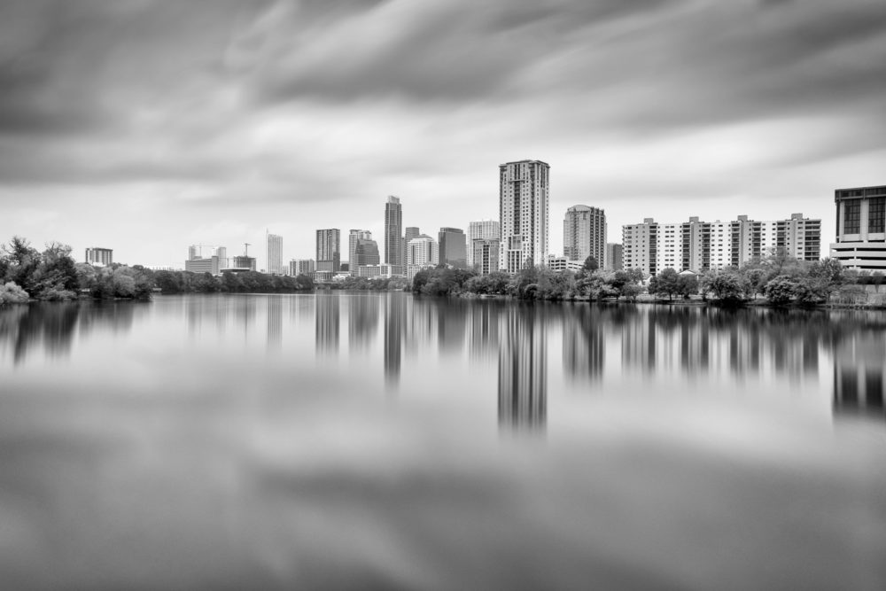 Austin Skyline Reflected Across Lady Bird Lake – Black and White Photograph