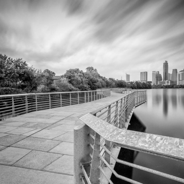 Austin Skyline from the Lady Bird Lake Boardwalk – Black and White Photograph