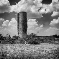 Plain City Ohio Silo - Black and White Photograph
