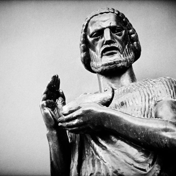 Wisdom - Black and White Photo of a Nashville City Hall Sculpture