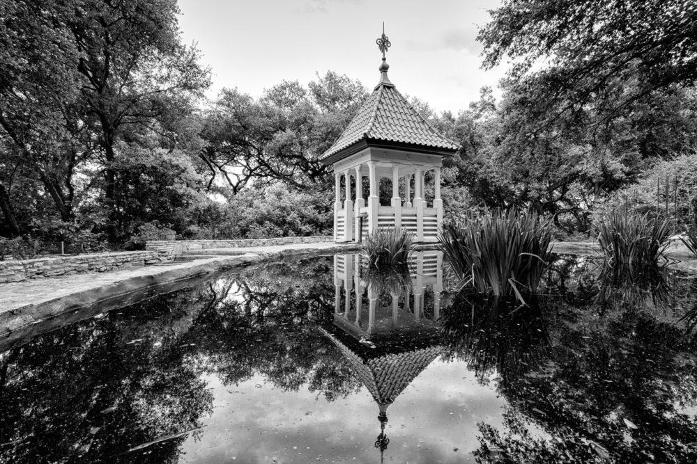 Zilker Botanical Garden Gazebo in Black and White